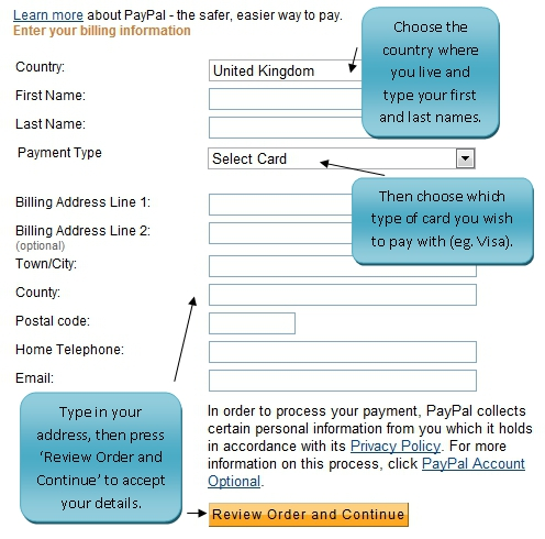 how to buy with paypal and email address